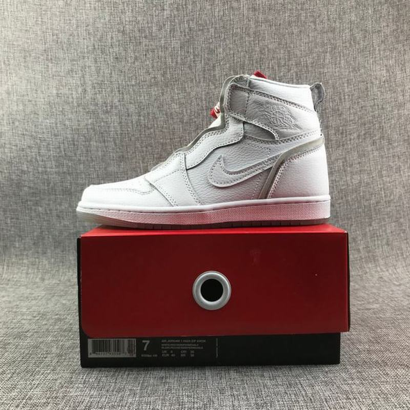 Air Jordan 1 High Zip Unisex Casual Shoes All White